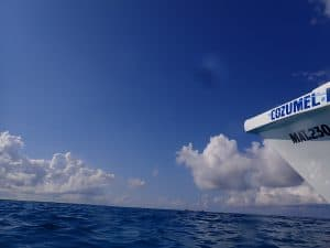 Cozumel dive boat on clear blue Caribbean water